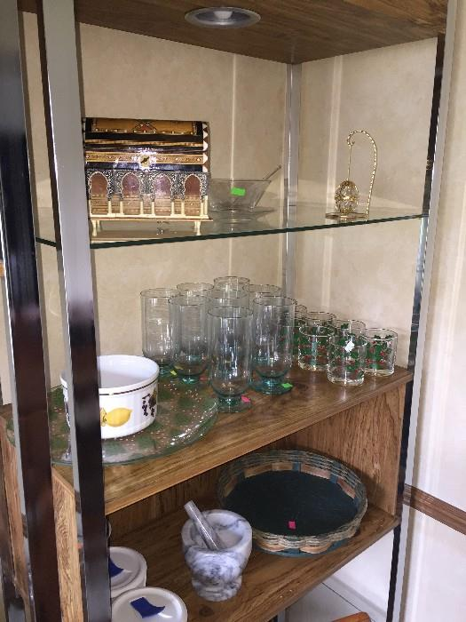 GLASSWARE / TALL LIGHTED WOOD AND GLASS DISPLAY CABINETS