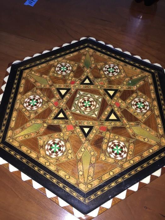 Vintage Handmade WOOD INLAY Art Inlaid Octogonal MARQUETRY TRAY Granada SPAIN