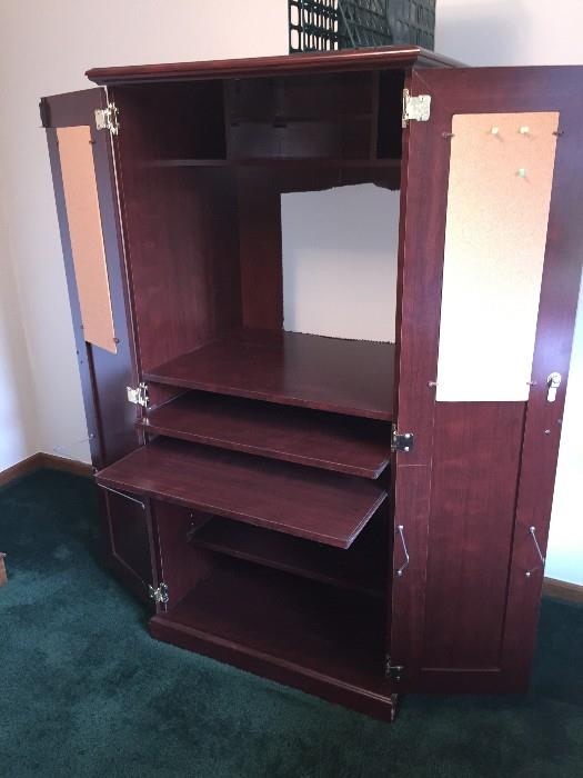 TALL OFFICE CABINET WITH DESK