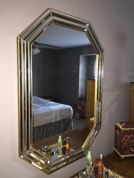 MIRROR WITH GOLD TRIM