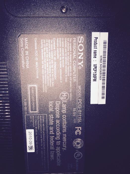 "SONY VAIO 16.4"" LAPTOP 6GB  MODEL  VPCF136FM MICROSOFT WINDOWS 7 HOME PREMIUM"