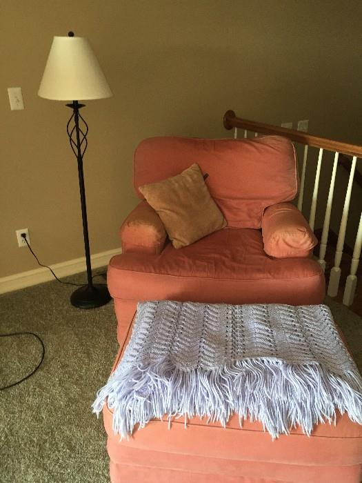 ORANGE CHAIR AND OTTOMAN