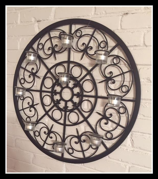 Large Black metal candle holder for the wall
