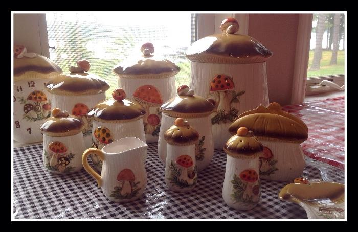 1970's mushroom canister set, clock, salt and pepper, and more