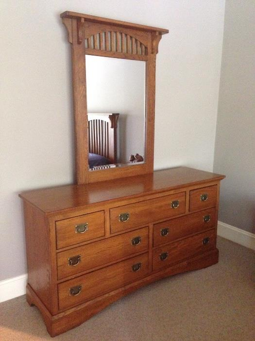 Double dresser with mirror by Lexington