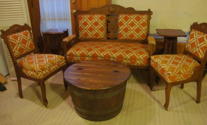 Victorian Settee, Barrel Coffee Table with lid