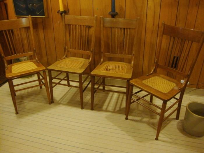 Set of 4 Oak and cane chairs