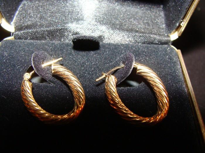 18k Gold Rope Earring