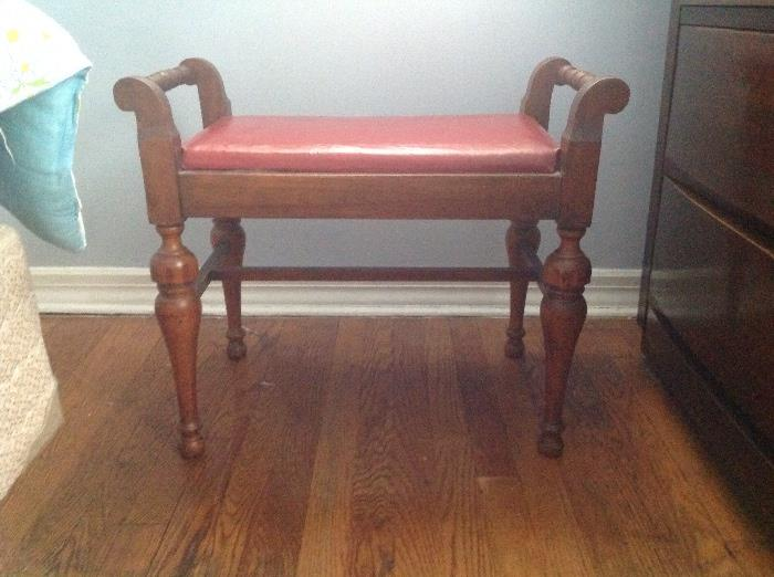 Wood/leather foot stool....in very good condition
