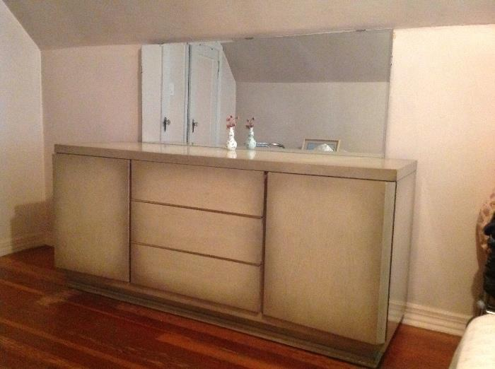 Retro bedroom set:  includes high boy, dresser with mirror, 2 end tables and headboard.  Excellent condition