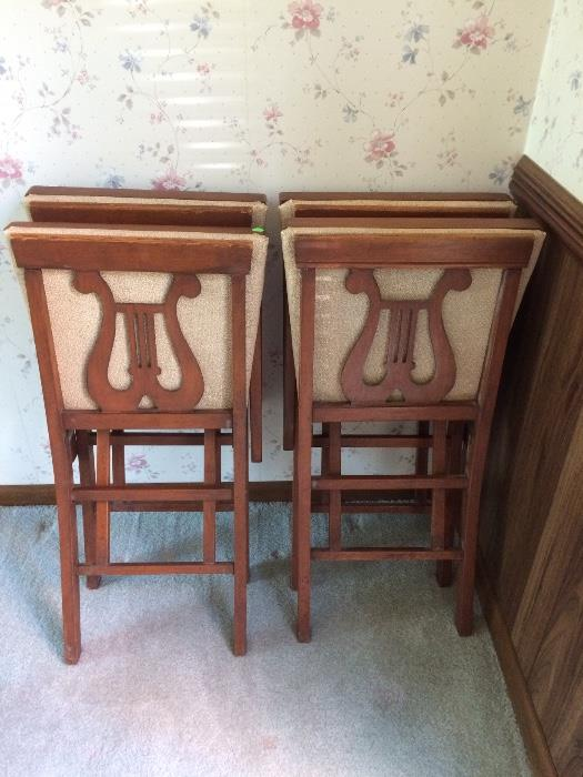 Vintage Folding Lyre Back Chairs