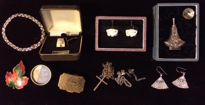 Emerson 10K Gold Pin, Ivory & Sterling Earrings, Sterling Perfume Bottom, Sterling Fan Earrings, Gold Cross, & More