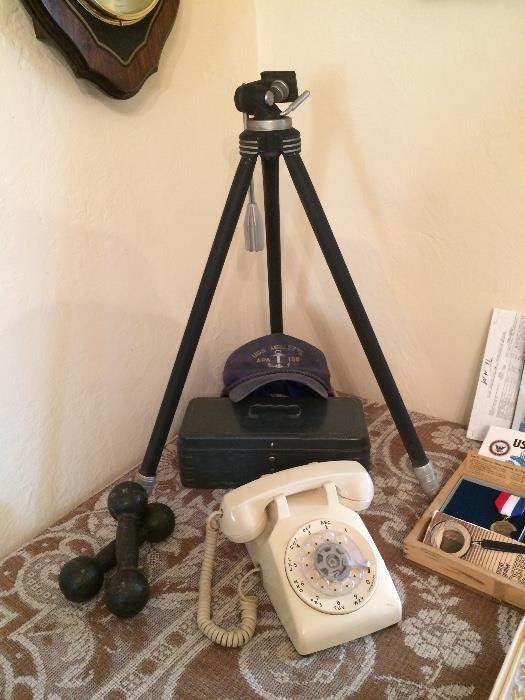 Davidson Tripod, Vintage Phone, Weights & Moew