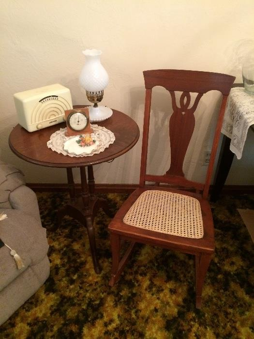 Vintage Wood & Cane Seat Bedroom Rocker, Artone Radio (WORKS!) & More