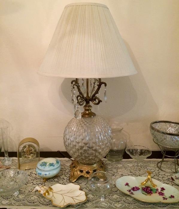 Glass & Brass Globe Bottom Lamp & More