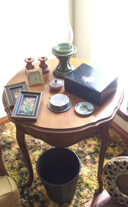 Vintage Cherry Wood French Provincial Lamp Table & More
