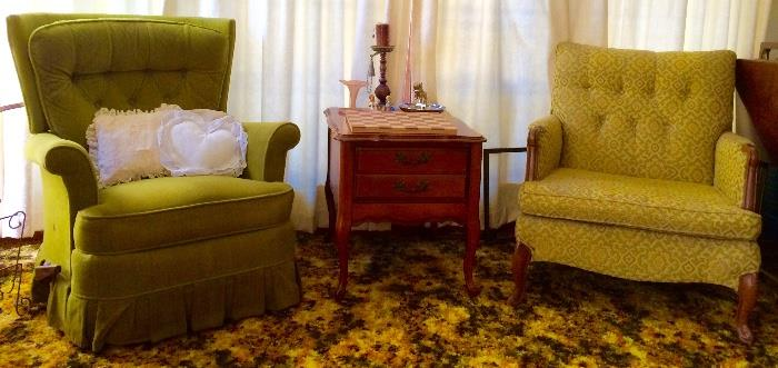 Vintage Retro Rocking Recliner, Cherry End Table, Retro Arm Chair, & More