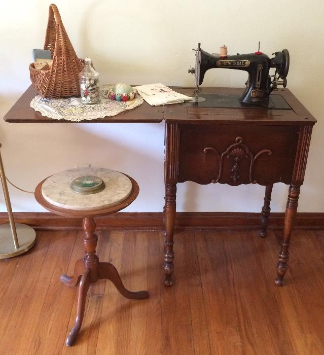Vintage New Home Sewing Machine, Marble Top Plant Stand & More
