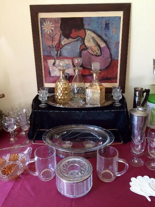 Vintage Crystal, Decanters, Glassware & More