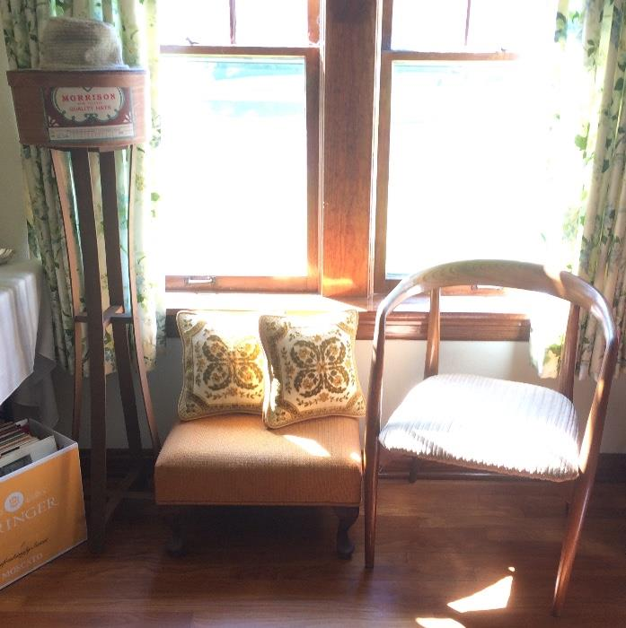Vintage Plant Stand, Hat Box, Ottoman, Mid Century Modern Chair, & More