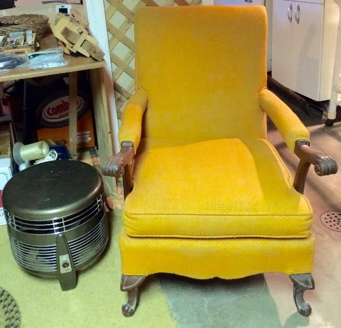 Vintage Retro Yellow Armchair & Stool Fan (Excellent Condition!)