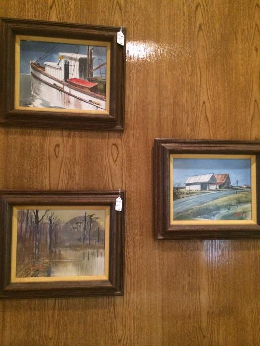 Three small framed AC Gentry watercolors