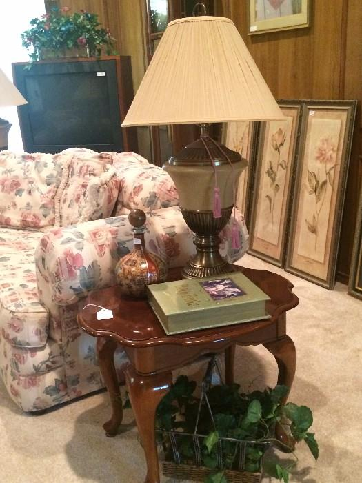 One of two matching end tables & matching lamps