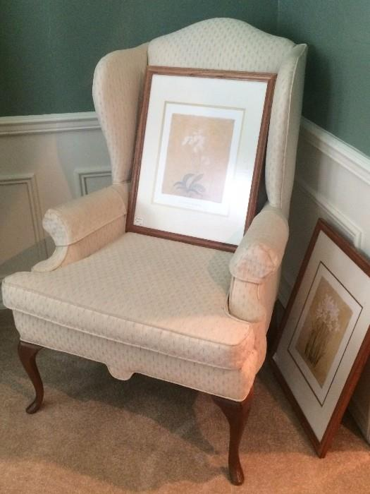 Upholstered wing back chair; 2 framed pictures