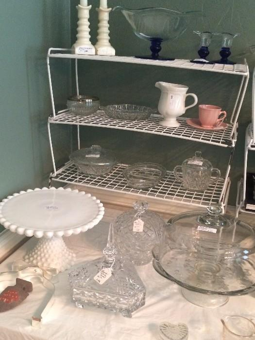 Assorted cake stands and crystal pieces
