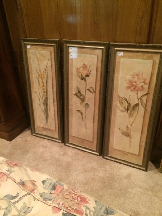 Three coordinating framed flowers