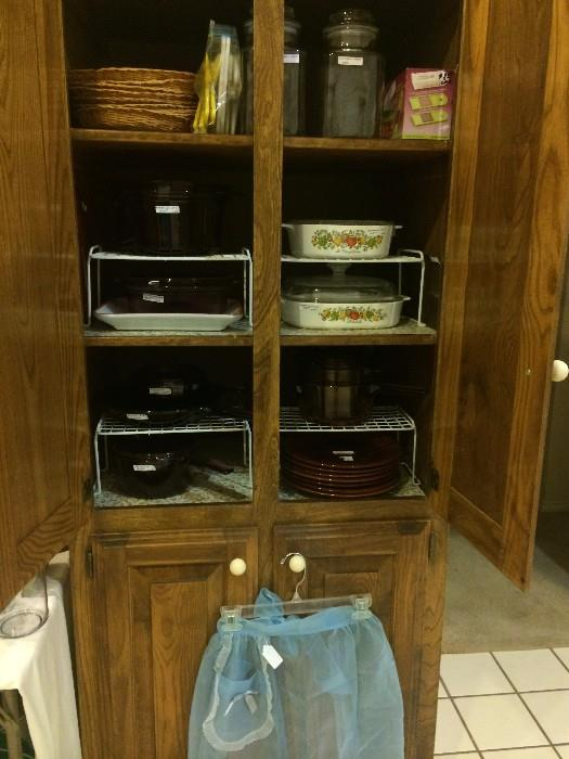 Vintage apron, corning, and other dishes