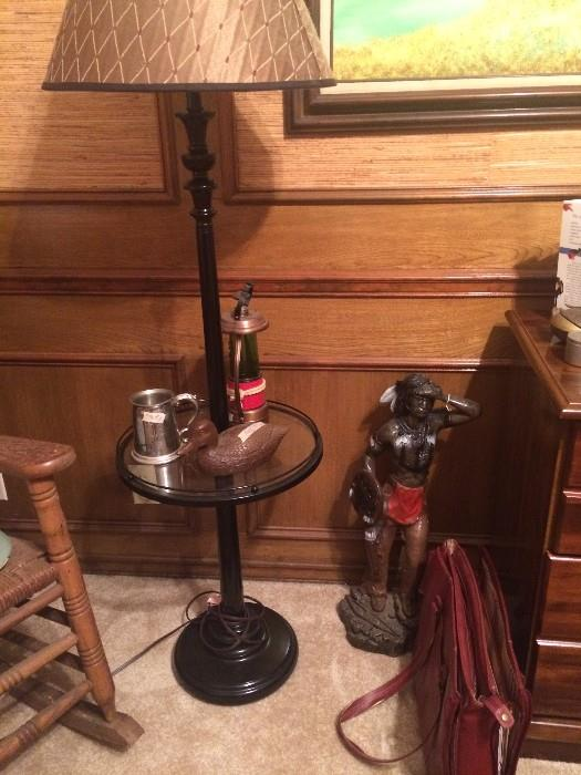 Floor lamp-table; Native American statue; brief case