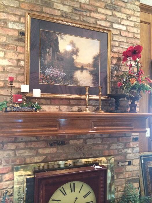 Framed art; candle sticks;  large decorative clock