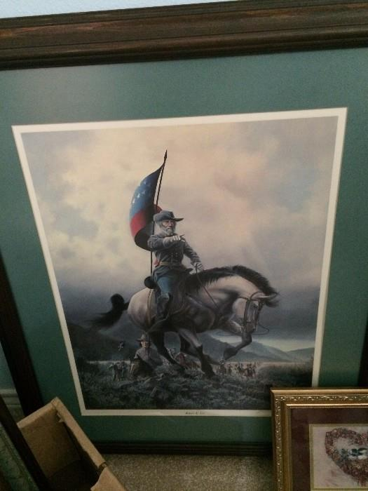 Framed art of Robert E Lee on his horse Traveler