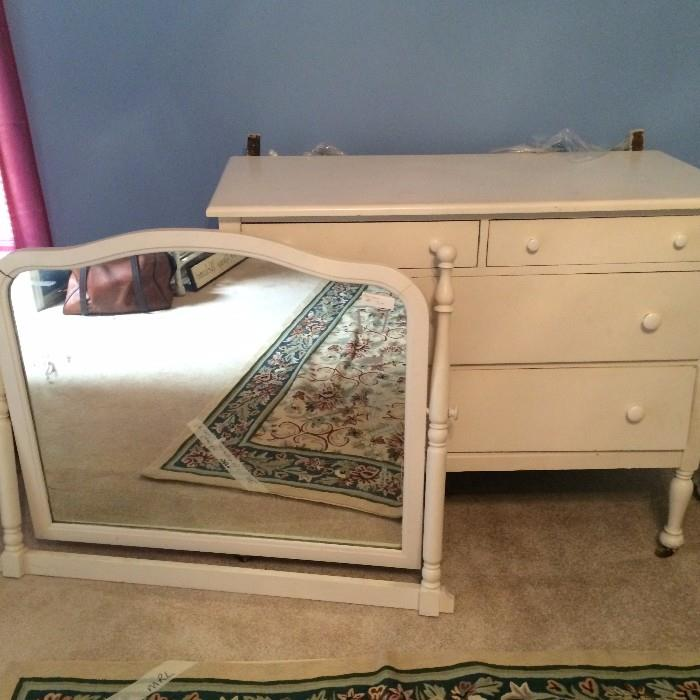 Antique dresser & swivel mirror