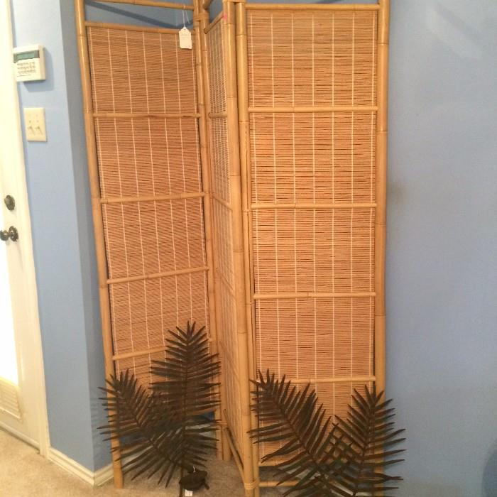 Rattan room divider; metal palm candle sconces