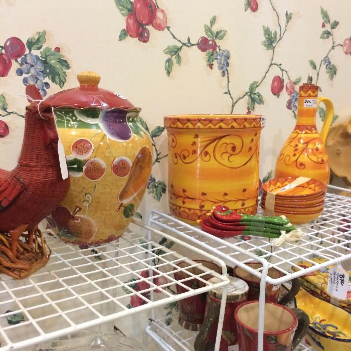 Brightly colored decorative items for the kitchen
