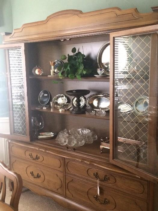 Large china cabinet; silver plate; punch bowl & cups