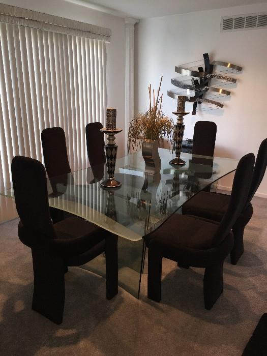 STUNNING MODERN // CONTEMPORARY GLASS TABLE WITH BLACK CHAIRS BY SOLEIL FURNITURE RATAIL $5,200