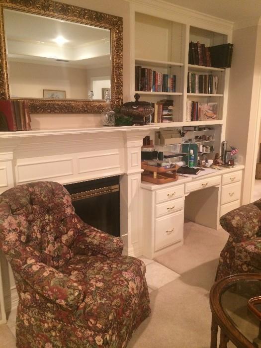 Chair has matching sofa; framed mirror; books; office supplies