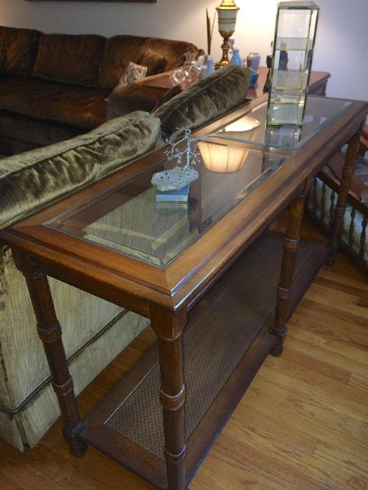 Cane & wood console table