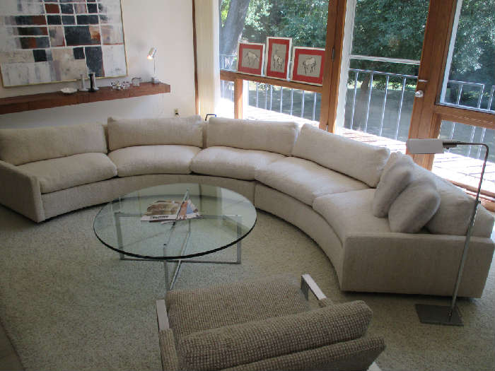 Thayer Coggin circular sofa sectional designed by Milo Baughman.  In original upholstery.