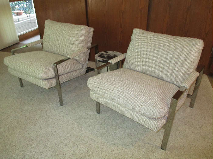 """Milo Baughman """"1937"""" for Thayer Coggin chrome lounge chairs.  Selling as a pair."""