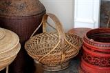 Baskets large and small purchased in Burma, India, and other far-flung places.