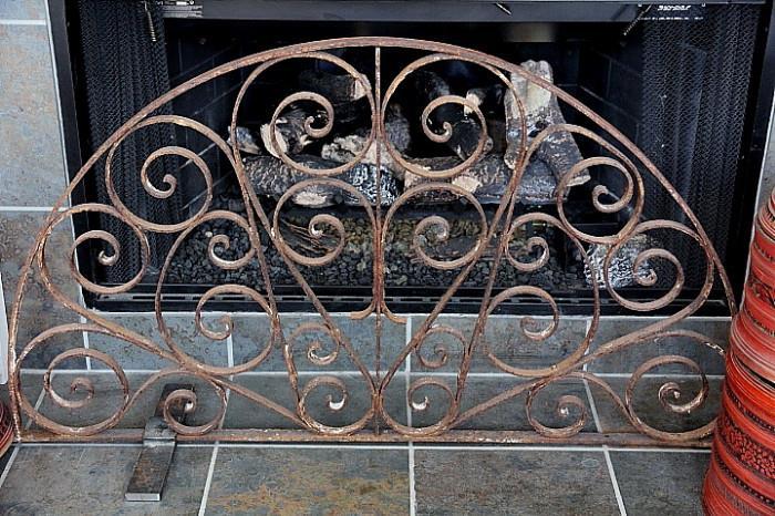 beautiful antique scrolled firescreen, nice patina