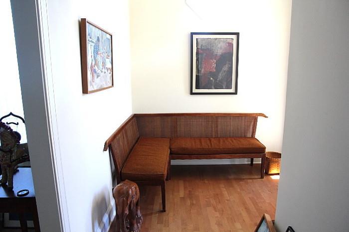 wonderful sofa bench with cane back