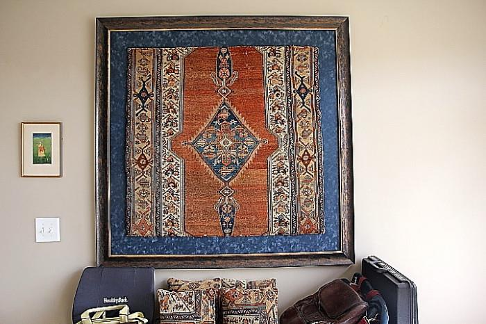 framed Persian rug fragment with matching pillows