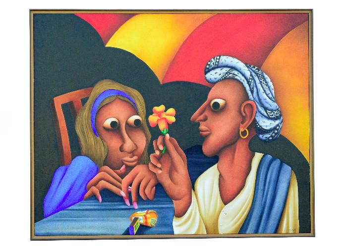 """Original oil on canvas, purchased in the late 1990s, 45""""H x 58"""" W, by Abbas Bhatliwalla.   This painting is being stored offsite -  asking price is $3,800."""