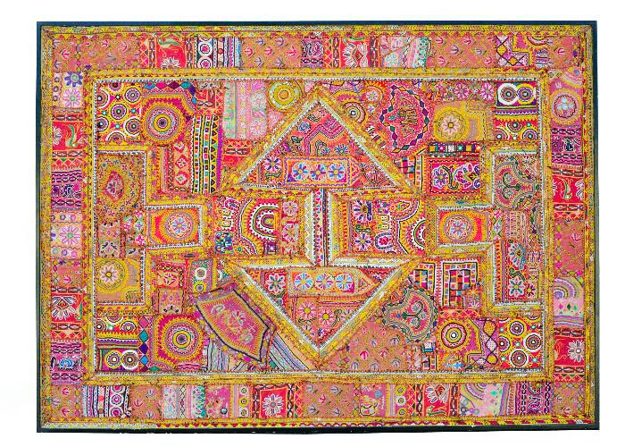 """Gujarat textile , hand crafted, 51""""H x 70"""" W, purchased in India in the 1990s.   Colors are deeper and more vibrant than in photo."""