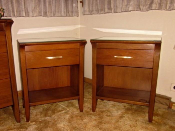 "Mid Century Modern night stands, ""Profile"" by Drexel.  One drawer, bottom shelf, custom glass tops."